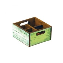Green Wood Condiment Box 4 Compartments