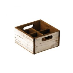 White Wooden Condiment Box 4 Compartments