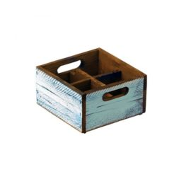 Turquoise Wood Condiment Box 4 Compartments