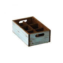 Turquoise Wood Condiment Box 6 Compartments