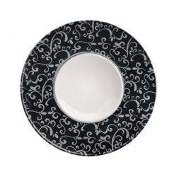 Flat Exquisite Plate Decorated Rim 34cm