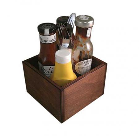 Condiment Holder (Square) Dark Oak Stain 150 x 150 x 100mm