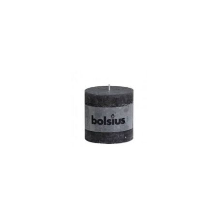 Anthracite Rustic Pillar Candle 80x68mm