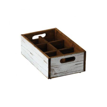 White Wood Condiment Box 6 Compartments