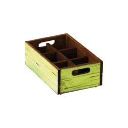 Green Wood Condiment Box 6 Compartments