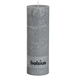Rustic Pillar Candle Light Grey 190mm X 68mm