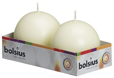 Bolsius Ball Candle 70mm Ivory 2pk
