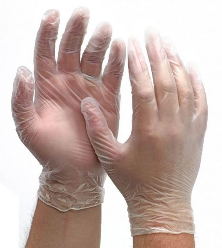 100 x Clear Large Powder-free Vinyl Gloves