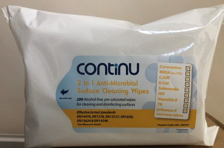 Contuni 2 in 1 Alcohol Free Anti-Microbial Surface Cleaning Wipes 200 Pillow Pack