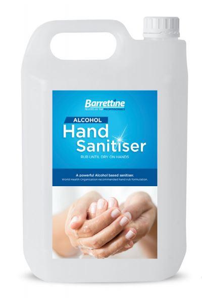 Barrettine's Alcohol Hand Sanitiser 5Ltr 75% Alcohol