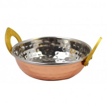 Copper PlCopper Plated Kadai Dish With Brass Handles - 17cmted Kadai Dish With Brass Handles - 17cm