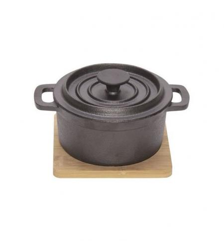 Cosy & Trendy Cast Iron Pot with Wooden Board 13.05 x 10.5 x 8cm