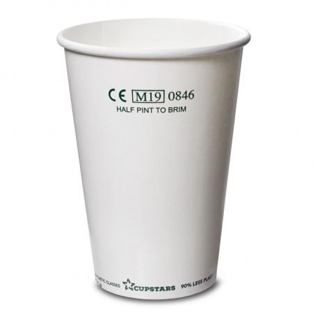 Recyclable Paper Cups Half Pint to Rim White CE CE 10oz 285ml 1x1000