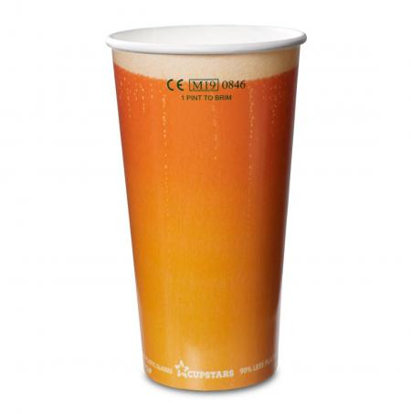 Recyclable Paper Cups Pint to Rim Beer Design CE 20oz 568ml 1x1000