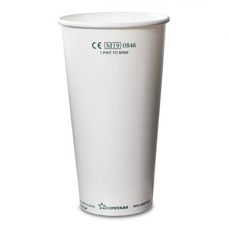Recyclable Paper Cups Pint to Rim White CE 20oz 568ml 1x1000